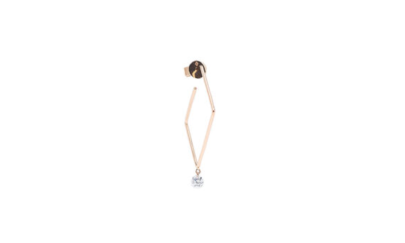 Persée Paris Géométrique square earrings mounted on 18ct rose gold with one diamond