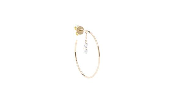 Persée Paris Géométrique two diamonds chain hoop mounted on 18ct yellow gold
