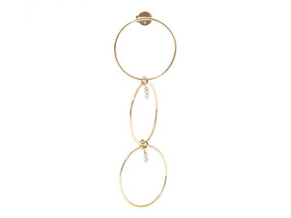 Persée Paris - Boucle d'oreille Géométrique en or jaune et diamants