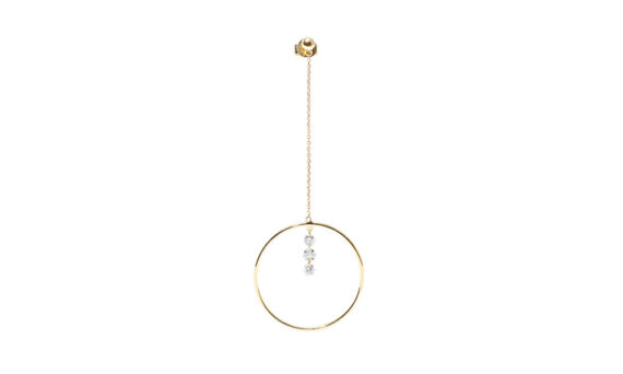 Persée Paris Pendule three diamonds earrings mounted on 18ct yellow gold