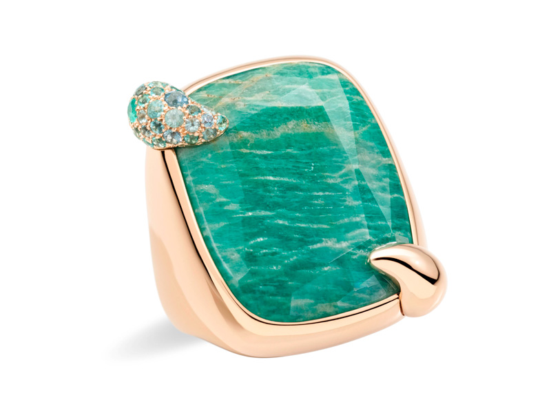 Pomellato - Summer Paradise ring with amazonite mounted on rose gold
