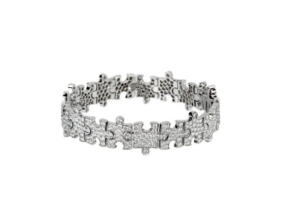 Akillis Puzzle collection - Bracelet mounted on white gold set with diamonds