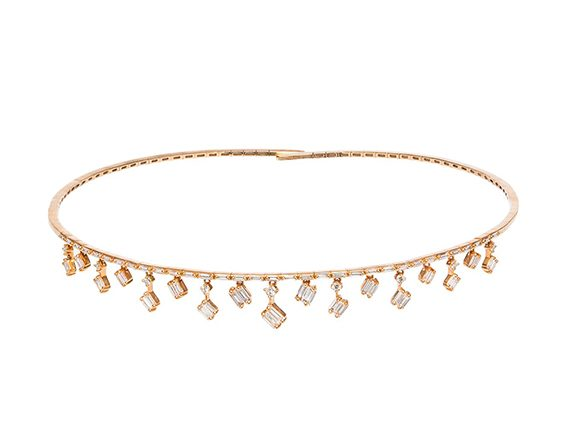 Suzanne Kalan Cascade Fireworks Charm Choker mounted on rose gold set with white diamond baguettes