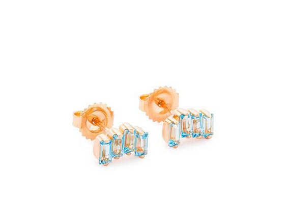 Suzanne Kalan Rose Gold Amalfi Wavelet earrings from the KALAN collection with blue topaz baguettes