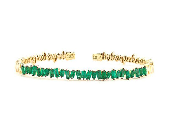 Suzanne Kalan Yellow Gold Fireworks Classic Baguette Emerald Bangle