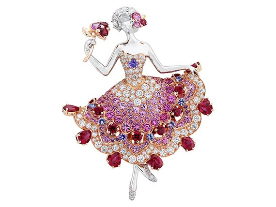 Van Cleef and Arpels Théia Princess clip with rubies, pink sapphires, black spinels and diamonds