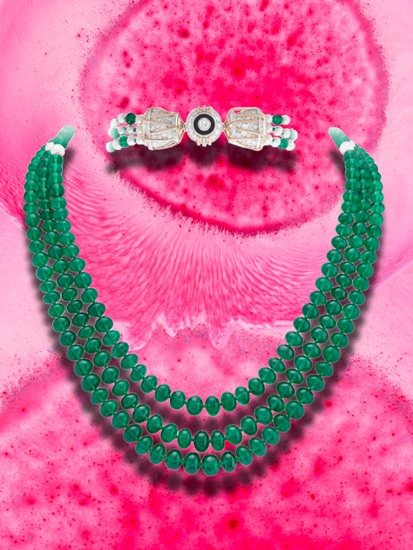 "Van Cleef and Arpels The Quatre conte de Grimm collection -  Melodie Necklace from the third story of ""The Three Feathers"" made with 186 Zambia emeralds beads, black spinel, onyx, white cultured pearls and diamonds"