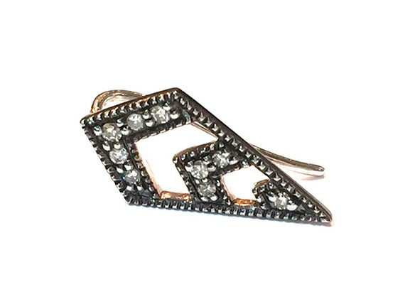 Vanessa De Jaegher Arrow Earring mounted on white gold set with diamonds