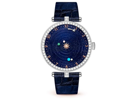 Lady Arpels Planétarium Watch on white gold with turquoise, diamonds, mother of pearl and aventurine