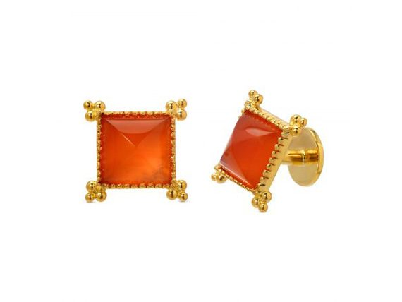 Victor Velyan Cuff links mounted on gold with Carnelians