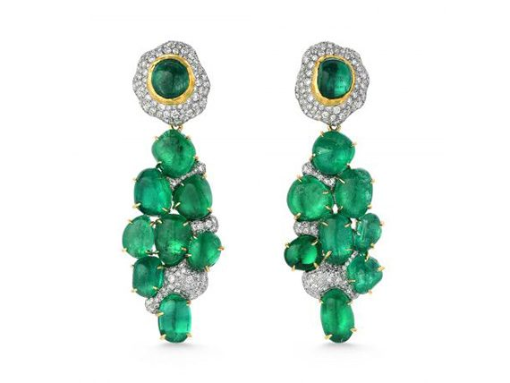 Victor Velyan Earrings mounted on gold with Emeralds and Diamonds