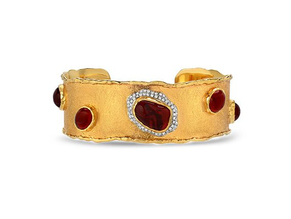 Victor Velyan Open Cuff mounted on gold with Mexican Fire Opals and diamonds
