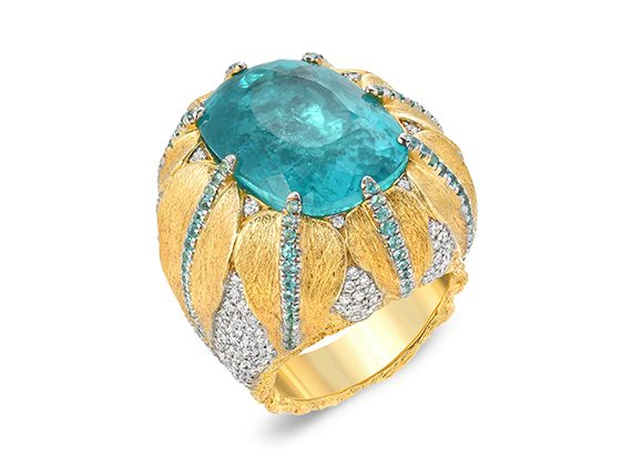Victor Veylan Ring mounted on gold with Paraiba diamonds and Paraiba Mele