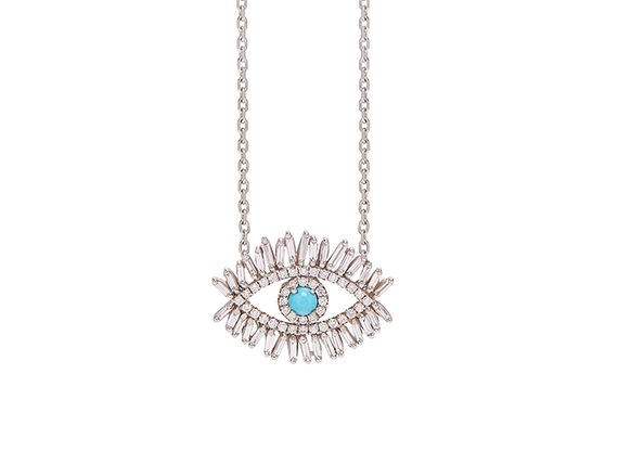 Suzanne Kalan Evil Eye Fireworks pendant mounted on white gold set with turquoise and white diamond baguettes