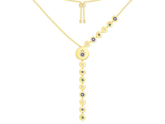 APM Monaco - Yellow silver Lucky Hand and Symbol long necklace