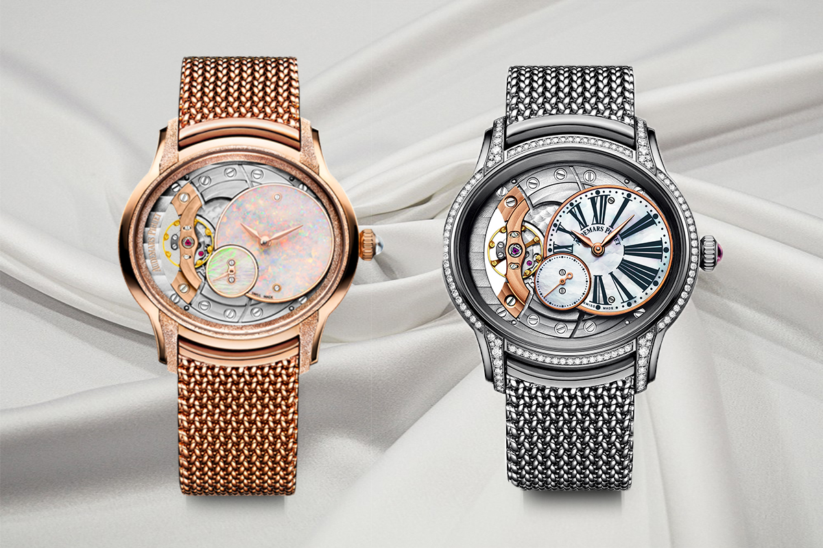 Audemars Piguet Millenary Frosted Gold Cadran Opale, made with rose gold and a Polish mesh bracelet; and Millenary remontage Manuel made with white nacre and rose gold, and a grey gold Polish mesh bracelet