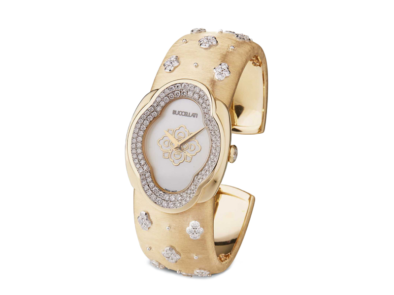 Buccellati - Opéra Watch on yellow and white gold set with diamonds and mother-of-pearl