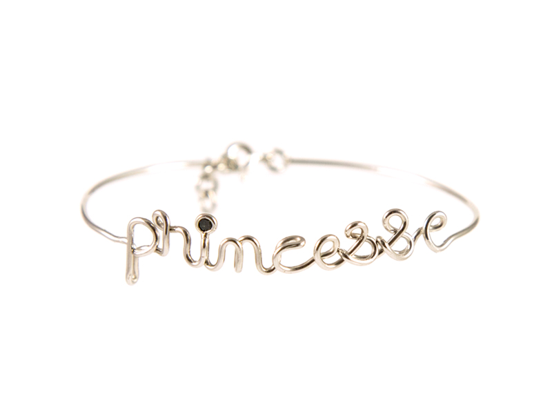 By Elia - Princesse bracelet, mounted on white gold with a black diamond