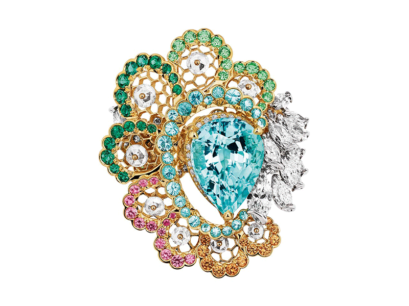 "Dior - ""Dentelle Tulle Tourmaline Type Paraîba"" ring mounted on yellow and white gold set with diamonds, Paraiba tourmalines, emeralds, tsavorite garnets, pink sapphires and spessartite garnets from the Dior Dior Dior collection"
