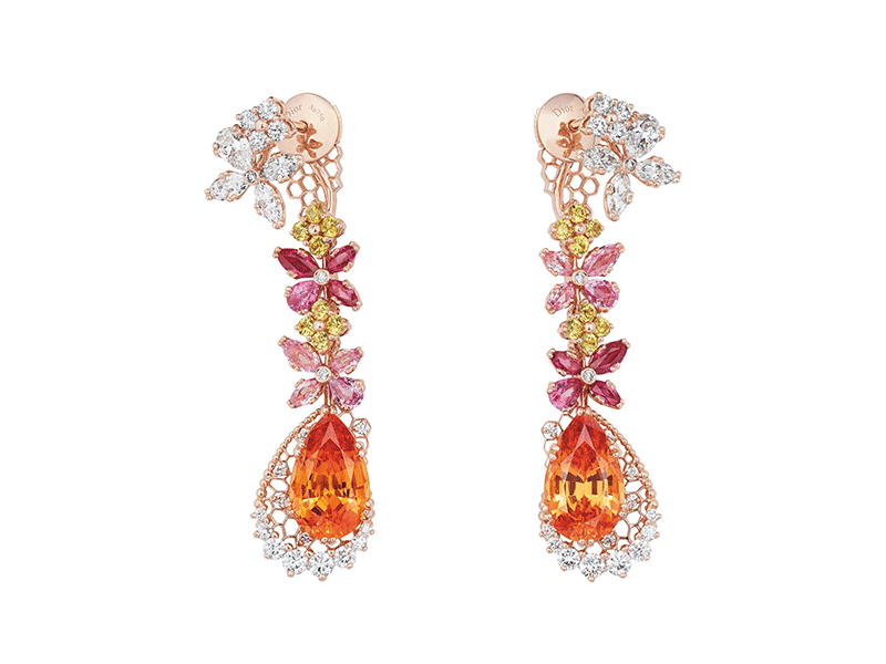 "Dior - ""Dentelle Popeline Grenant Spessartite"" earrings from the Dior Dior Dior collection mounted on rose gold set with diamonds spessartite garnets and pink and yellow sapphires"