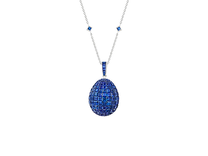 Fabergé - The Treasures Mosaïc Sapphire Pendant mounted on white gold with blue sapphires and white diamonds