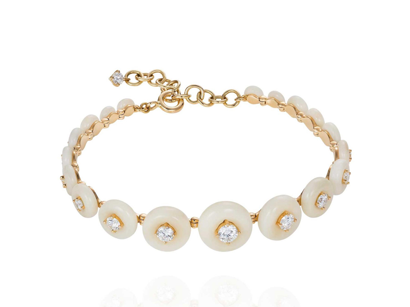 Fernando Jorge - Surround Bracelet, mounted yellow gold with tagua seed and diamonds
