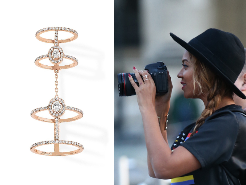 Beyoncé wearing Messika - Glam'Azone Double Pavé Diamond Ring mounted on rose gold