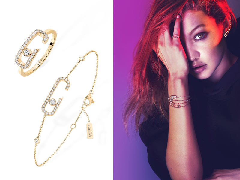 Messika - Gigi Hadid - Move Addiction Move Addiction ring and bracelet mounted on yellow gold and diamonds