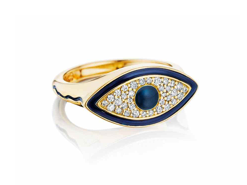 Misahara Evil Eye Signet Ring made with white diamonds set in 18ct gold