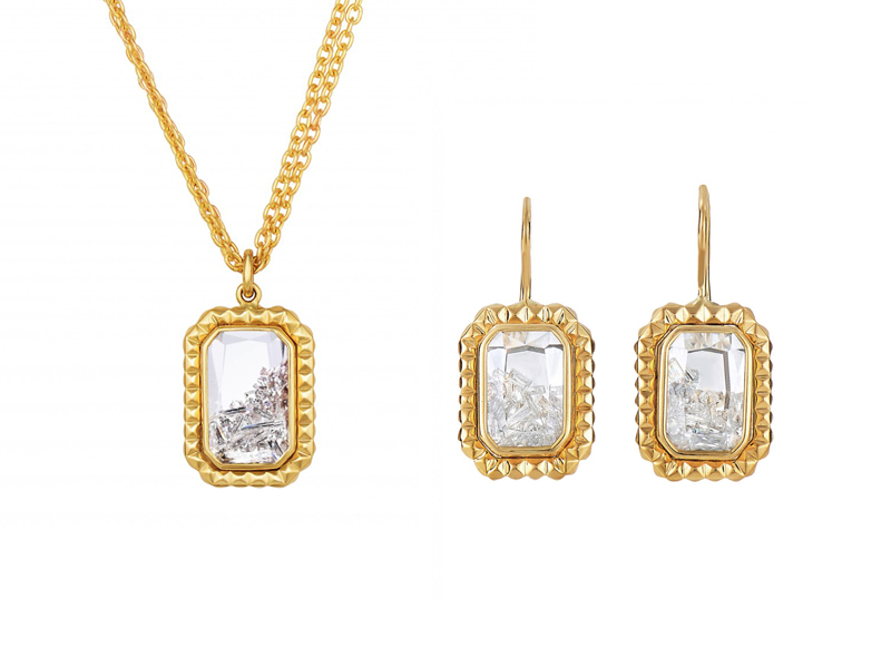 Moritz Glik - Necklace and Earrings mounted on yellow gold with diamonds enclosed in a white sapphire Kaleidoscope shaker