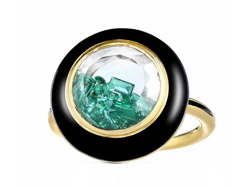Moritz Glik - Apollo ring mounted on yellow gold and black enamel with emeralds enclosed in a white kaleidoscope shaker