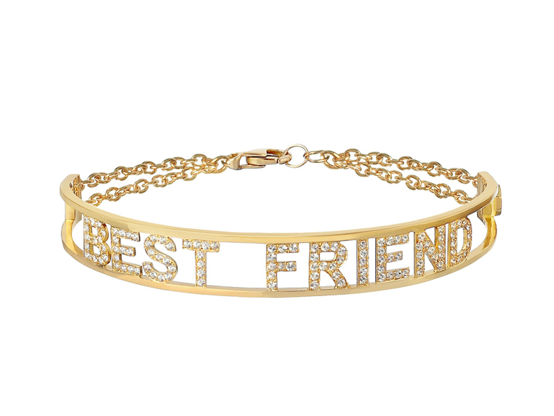 Spallanzani - Only You, Best Friend bracelet, white sapphires set in yellow gold