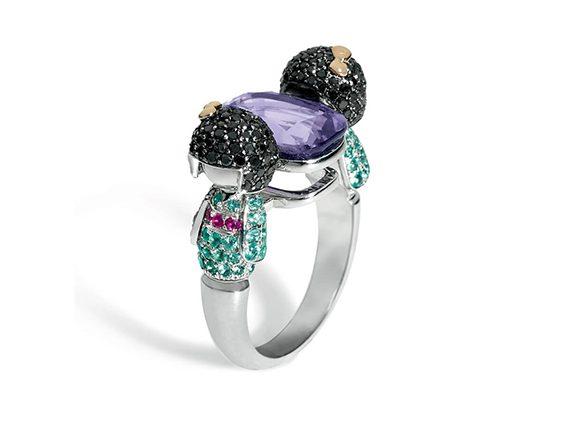 Stephanie Deydier - Ninhursage Kokeshi dolls ring mounted in white gold set with purple spinel paraibas rubies and black diamonds