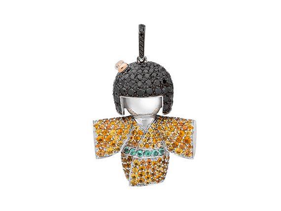 Stephanie Deydier - Yuki-Onna Kokeshi doll pendant mounted on white gold set with yellow sapphires spessartines paraïbas and black diamonds