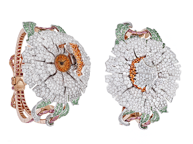 Van Cleef & Arpels - Pivoine Secrète watch dial in yellow gold set with round spessartite garnets, petals in white gold and round diamonds
