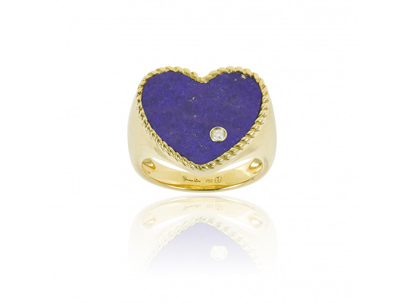 Yvonne Léon - Chevalière coeur mounted on 18ct yellow gold with lapis lazuli and one diamond