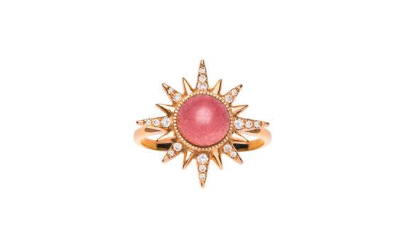 Jenny Dee Jewelry Rubellite Electra Maxima ring 18ct rose gold white diamonds