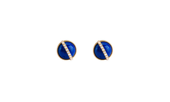 Taygeta earrings 18ct yellow gold lapis lazuli cabochons white diamonds