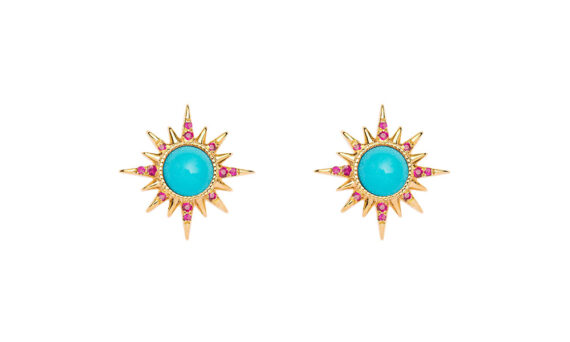 Electra earrings 18ct yellow gold turquoises cabochons rubies