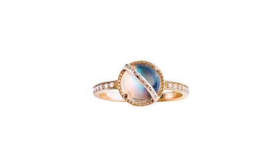 Jenny Dee Jewelry Taygeta ring rose gold rainbow moonstone white diamonds