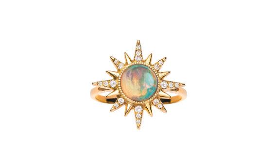 Ethiopian Opal Electra Maxima Ring 18ct rose gold white diamonds