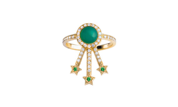 Jenny Dee Jewelry Green Agate Alcylone ring 18ct yellow gold white diamonds tsavorites
