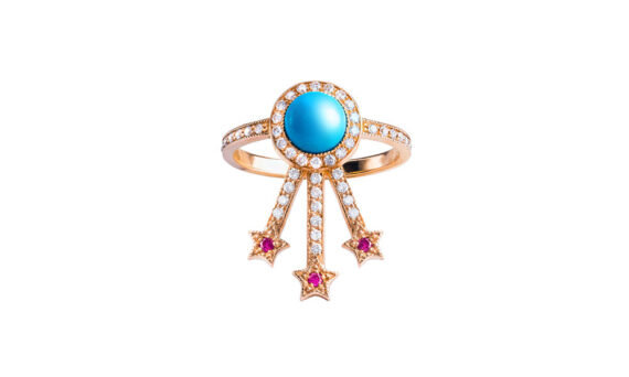 Jenny Dee Jewelry Alcylone ring 18ct rose gold turquoise white diamonds rubies