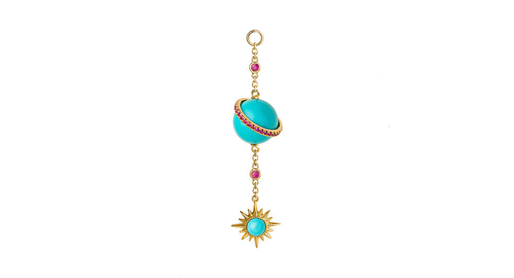 Turquoise Electra Spherical Ear chain