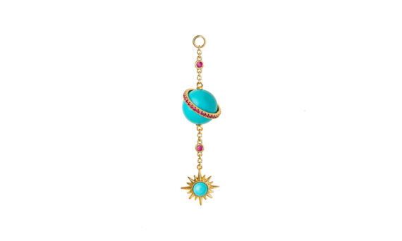 Jenny Dee Jewelry Turquoise Electra Spherical Ear chain 18ct yellow gold rubies white diamonds