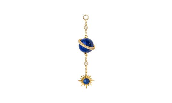 Jenny Dee Jewelry Lapis Lazuli Electra Spherical Ear chain 18ct yellow gold white diamonds