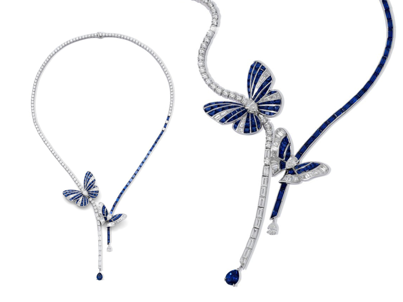 Stenzhorn - Blue Butterfly Lovers Necklace with sapphires and diamonds set in white gold
