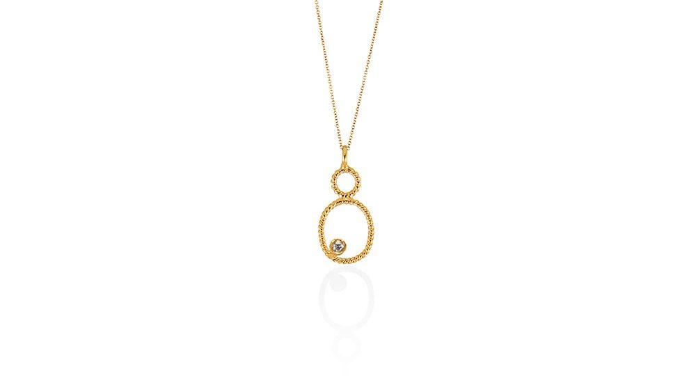 Pendentif Petit ovale avec diamant