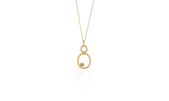 Christina Soubli Tiny Oval pendant with diamond 18ct yellow gold to shop marketplace