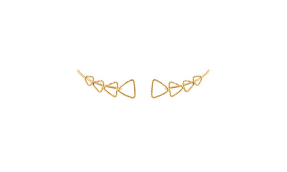 Christina Soubli Triangle ear climbers 18ct yellow gold